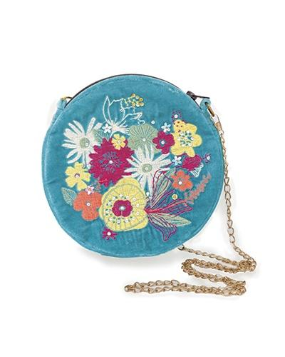 Velvet embroidered modern floral bag - Daisy Park