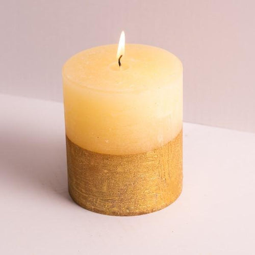 St Eval Inspiritus Gold dipped pillar candle