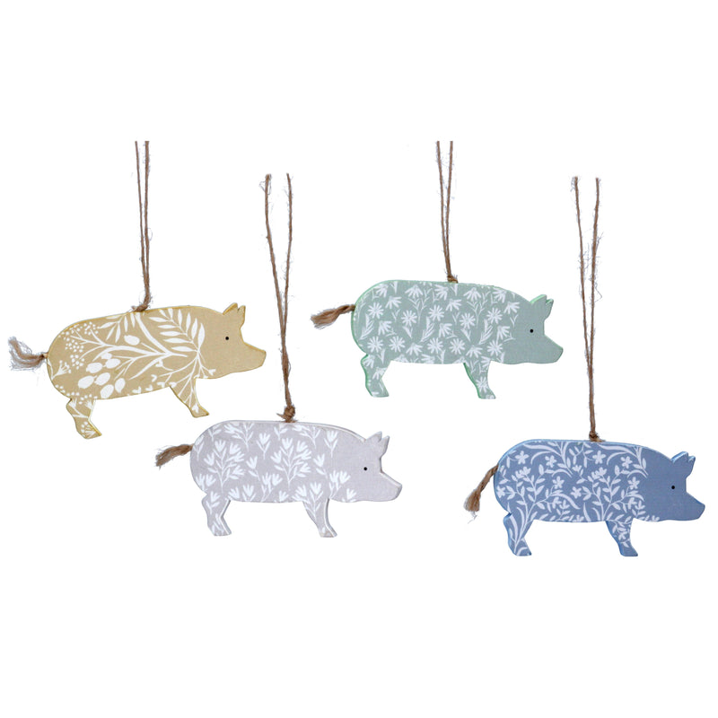 Wooden patterned pig decoration - Daisy Park
