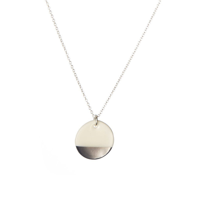"Porcelain Disc Necklace - Silver Dipped on Silver 16-18"" Chain"