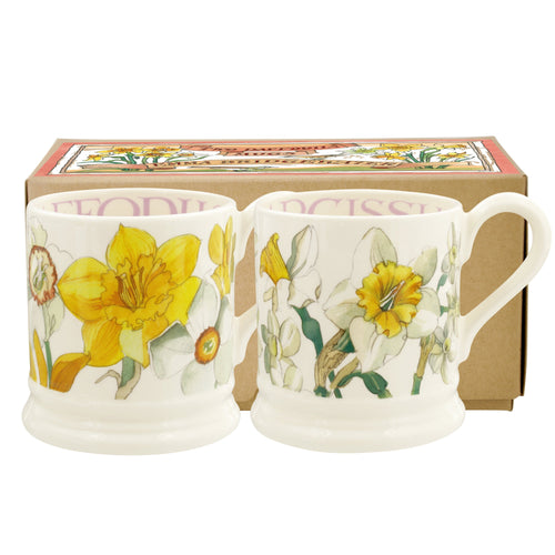 Emma Bridgewater Daffodils and Narcissus set of 2 1/2pt mugs - Daisy Park