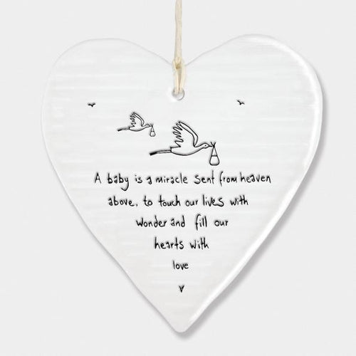Baby is a miracle round ceramic heart - Daisy Park