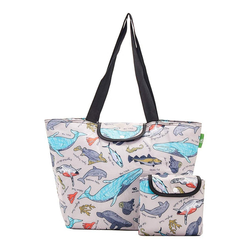 Eco Chic Grey Sea Creatures Large Cool Bag - Daisy Park