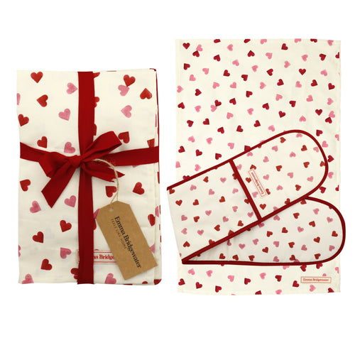 Emma Bridgewater Pink hearts double oven glove and tea towel - Daisy Park