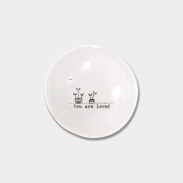 East of India Porcelain Small Bowl - You Are Loved - Daisy Park