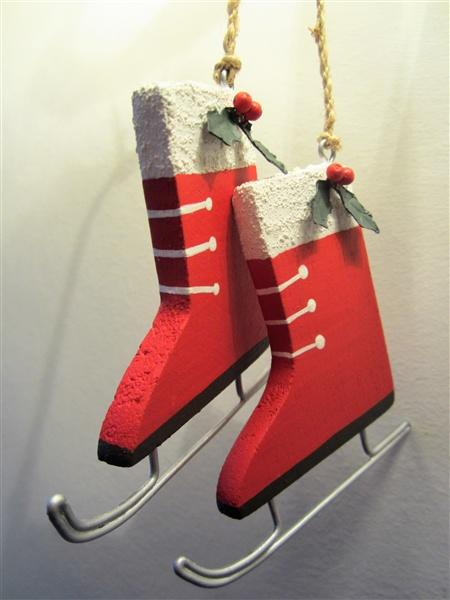 Wooden pair of Red Skates Christmas Decoration