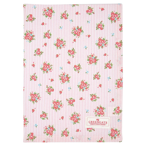 Greengate Abigail pale pink stripe tea towel