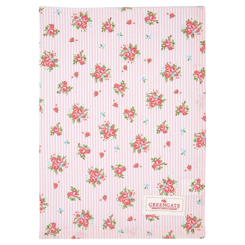 Greengate Abigail pale pink stripe tea towel - Daisy Park