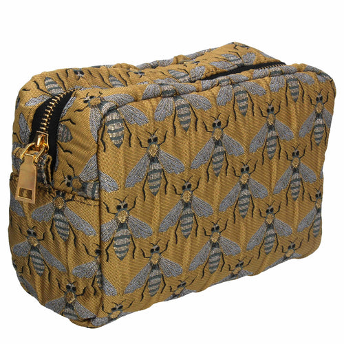 Jacquard cosmetic gold bees pouch