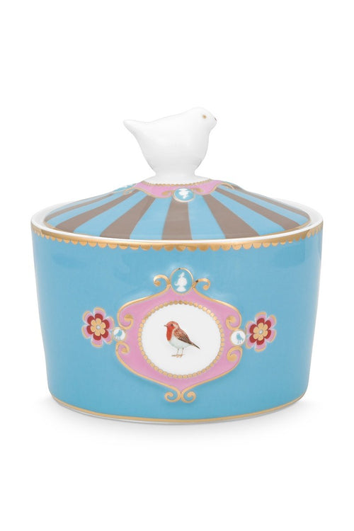 Pip Studio Blue Love Birds medallion sugar bowl