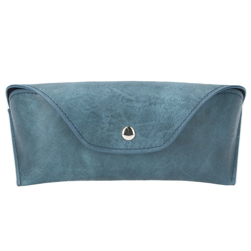 Petrol blue leather effect soft glasses case - Daisy Park