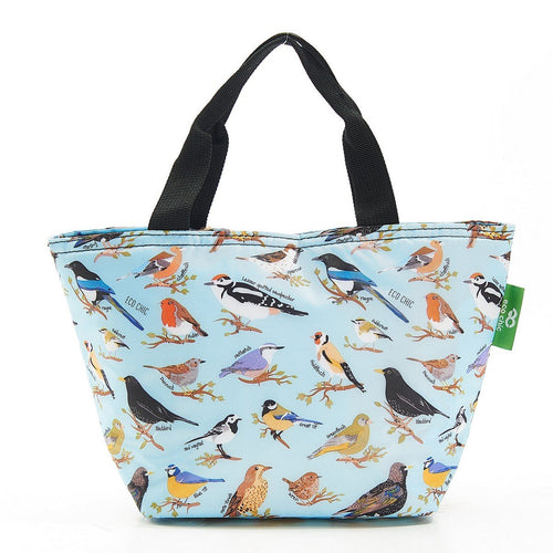 Eco Chic Blue Wild Birds lightweight foldable lunch bag - Daisy Park