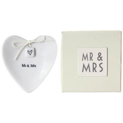 East Of India Porcelain Mr & Mrs ring dish - Daisy Park