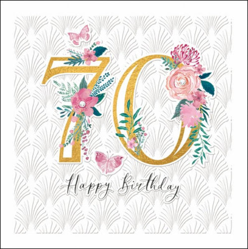 70th Flowers birthday card - Daisy Park