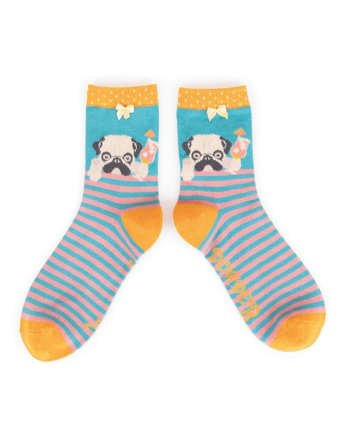Cocktail pug turquoise ankle socks - Daisy Park