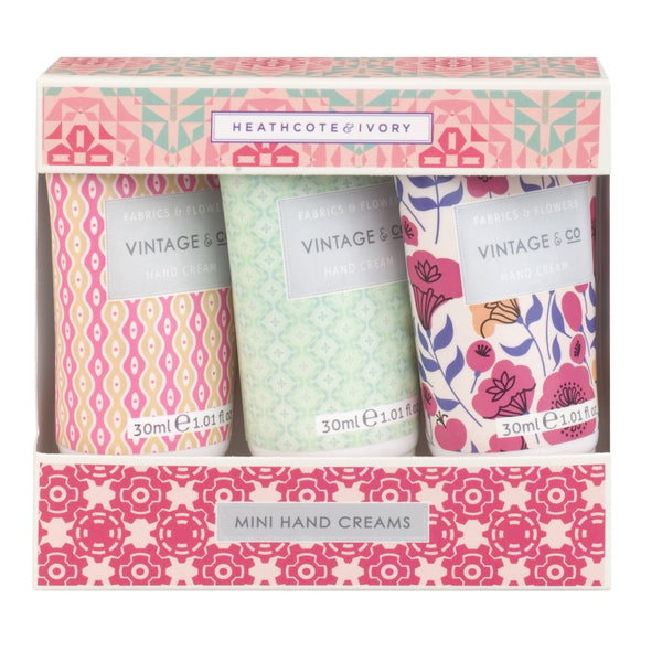 Vintage & Co Fabrics & Flowers hand cream trio