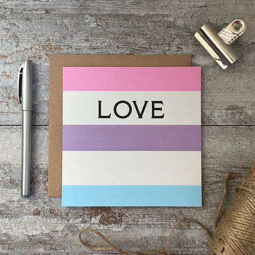 Love - Rainbow Stripe card - Daisy Park