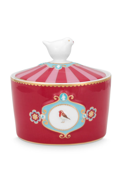 Pip Studio Red Love Birds medallion sugar bowl