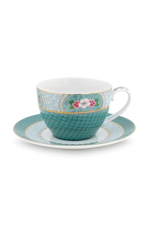 Pip Studio Blushing Birds Blue Cappuccino cup & saucer - Daisy Park