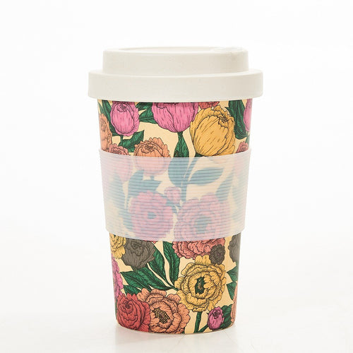 Eco Chic Peonies bamboo cup - Daisy Park