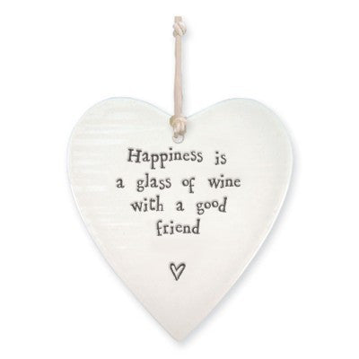 East Of India Porcelain Heart Happiness Is A  Glass Of Wine