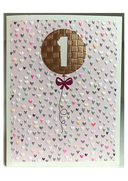 Age 1 pink birthday card - Daisy Park
