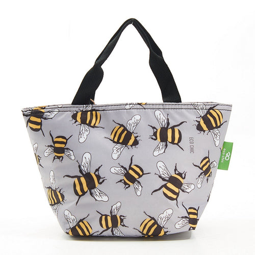 Eco Chic Grey Bee lightweight foldable lunch bag - Daisy Park