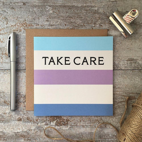 Take care - Rainbow stripe card - Daisy Park