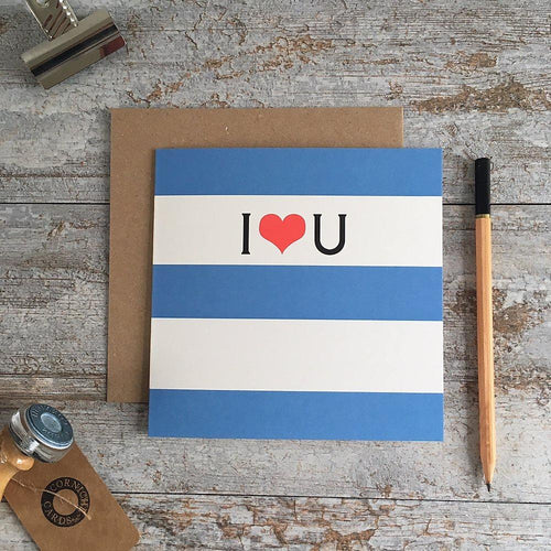 I heart U blue stripe card - Daisy Park