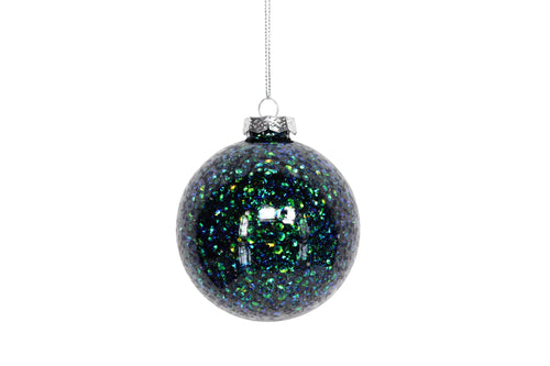 Peacock Glitter Filled Glass Bauble - Daisy Park