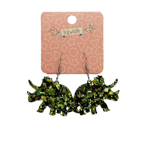 Triceratops chunky glitter resin drop earrings - Lime - Daisy Park