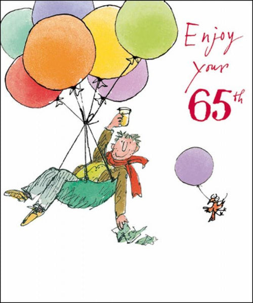 65th Birthday card - Balloon man - Daisy Park