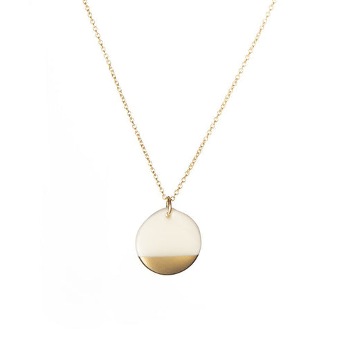"Porcelain Disc Necklace - Gold Dipped on Gold 16-18"" Chain"