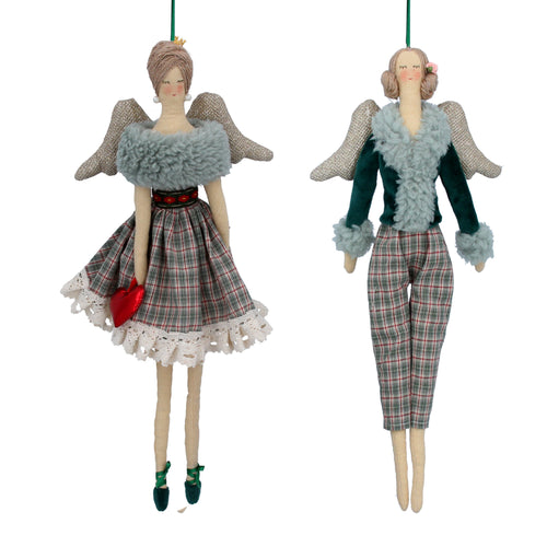 Plaid fabric angel with dress or trousers