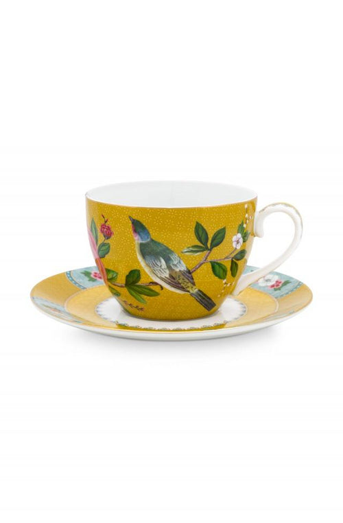 Pip Studio Blushing Birds Yellow Cappuccino cup and saucer - Daisy Park