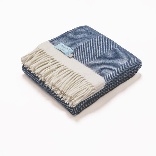 Navy Herringbone wool blanket - double - Daisy Park