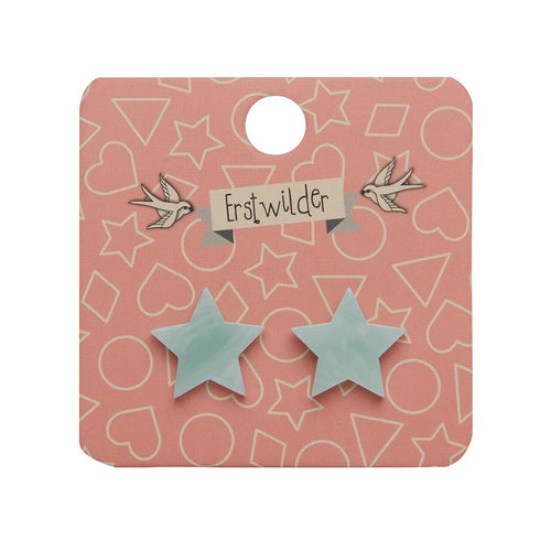 Star Marble Resin Stud Earrings - Mint - Daisy Park