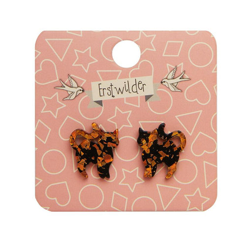 Pussy Cat Chunky Glitter Resin Stud Earrings - Orange - Daisy Park