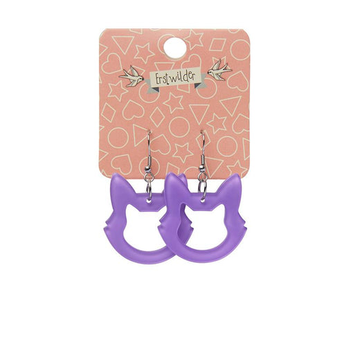 Cat Head Bubble Resin Drop Earrings - Purple - Daisy Park