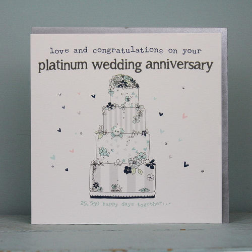 70th Platinum wedding anniversary card - Daisy Park
