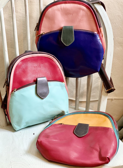 Round Leather small backpack - Daisy Park