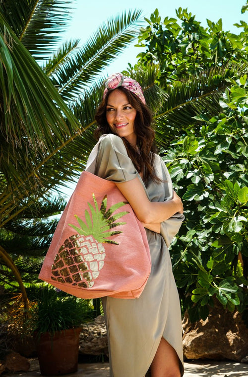 Boho Pineapple bag - coral - Daisy Park