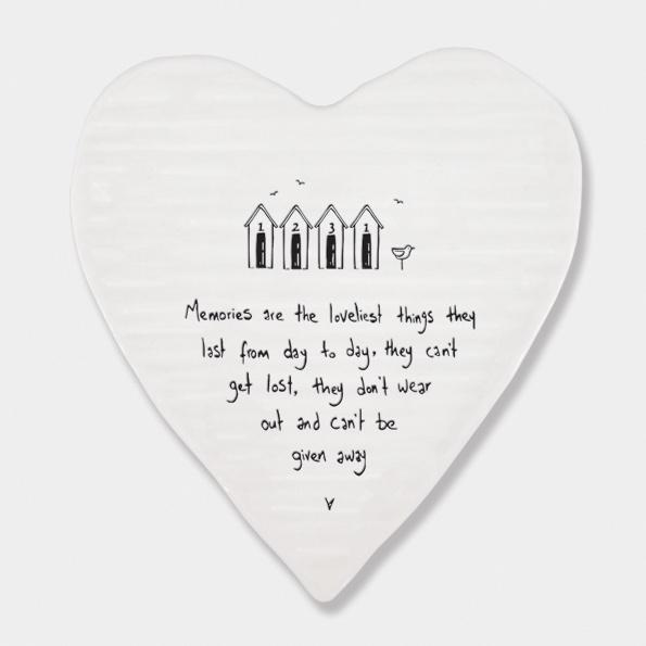 Memories are the loveliest things ceramic heart Coaster - Daisy Park