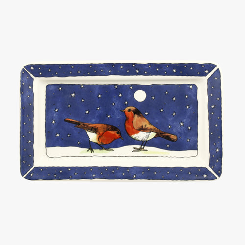 Emma Bridgewater Robins in the snow oblong plate - Daisy Park