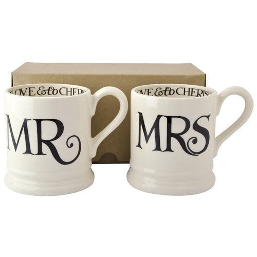 Emma Bridgewater Black Toast Mr & Mrs 2 1/2 Mugs