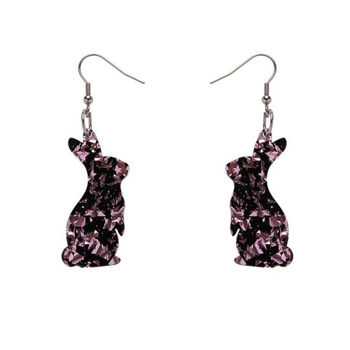 Erstwilder bunny chunky glitter pink drop earrings - Daisy Park