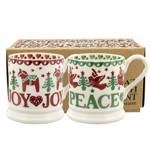 Emma Bridgewater Christmas Joy Set Of 2 1-2PT Mugs - Daisy Park