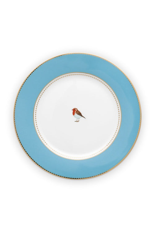 Pip Studio Love Birds blue plain 21cm breakfast plate