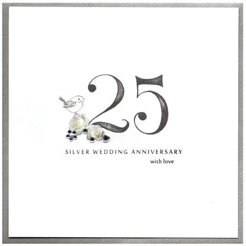 Silver wedding anniversary card - Daisy Park