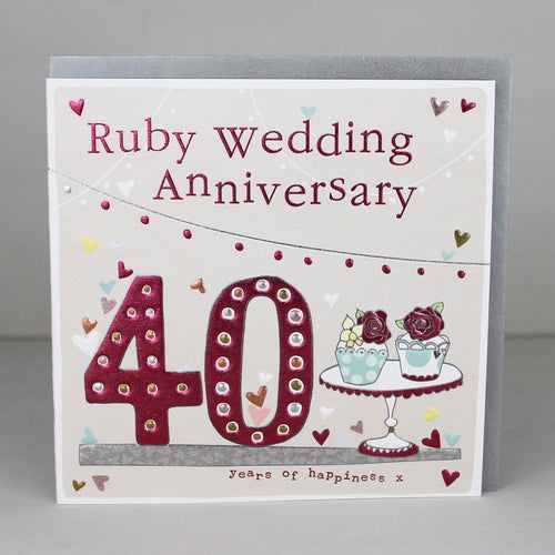 Ruby wedding anniversary card - 40th - Daisy Park